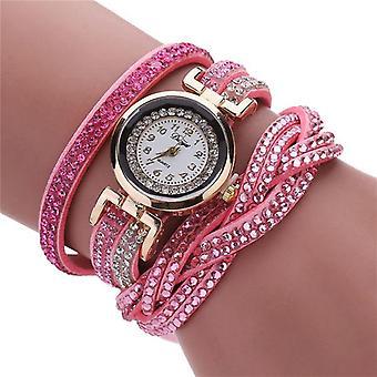 Mode Quartz Strass lederen armband horloge