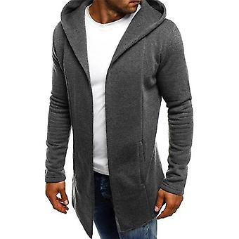 Casual Men's Jackets, Splicing Hooded, Solid Trench Cardigan Long Sleeve,