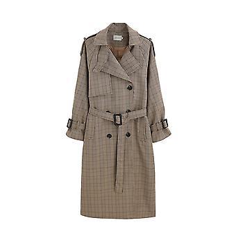 Női árok kabát, kockás hosszú, dupla gombolású öves, túlméretes Duster