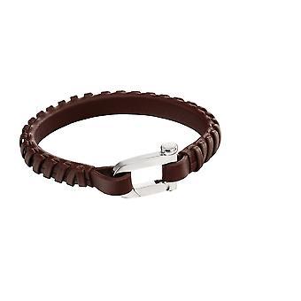 Pulsera de cuero marrón genuino para hombres y apos;s con cierre de hebilla característica