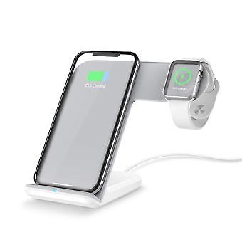 Facever 2 in 1 wireless charger, fast qi charging station dock for apple watch series 5 4 3 2 1 ipho