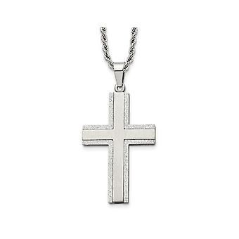 Mens Stainless Steel Polished Laser-Cut Cross Pendant Necklace with Chain