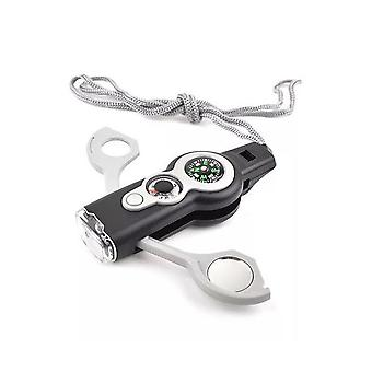 IPRee 7 In 1 EDC Multifunctional SOS Tools Kit LED Light Survival Whistle Compass Magnifier Thermome