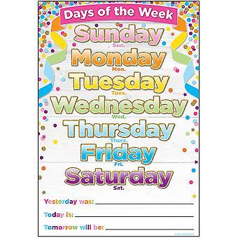 """Smart Poly Chart, 13"""" x 19"""", Días de confeti de la semana"""