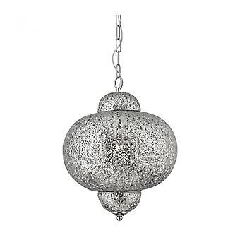 Lámpara Colgante Marroquí 29 Cm, En Plata Satinada