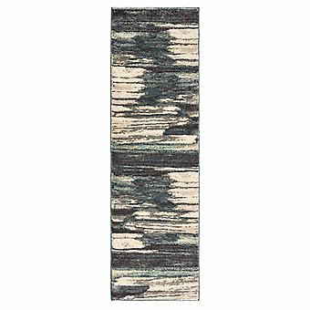 8' Ivory Blue Gray Abstract Layers Indoor Runner Rug