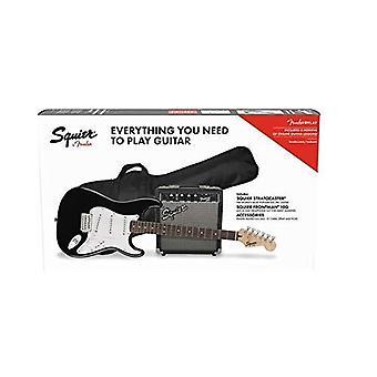Squier by fender stratocaster beginnerspakket, laurier toets, zwart, met gig bag, versterker, riem, kabel, plectrums en fender play