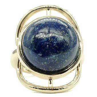 Trendy Genuine Lapis Stone Gold Tone Ring