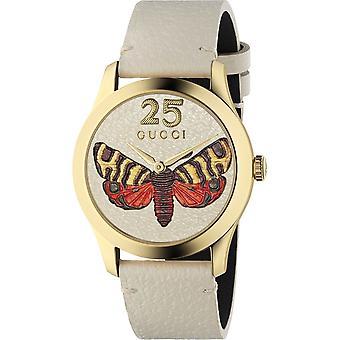 Gucci Ya1264062 G-tijdloze Butterfly Dial lederen riem Dameshorloge
