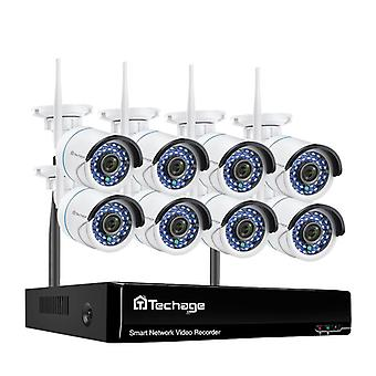 Techage Wireless 3mp 8ch Cctv Security Nvr Wifi Camera Kit Ai Audio Record /