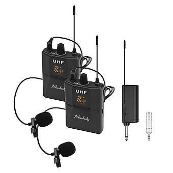 Uhf draadloos lavalier microfoonsysteem 1 tx en 1 rx