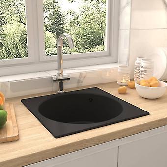 vidaXL kitchen sink with overflow black granite