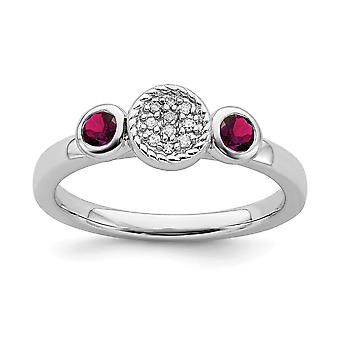 925 Sterling Silver Bezel Polished Prong set Stackable Expressions Db Round Cr. Ruby and Dia. Ring Jewelry Gifts for Wom