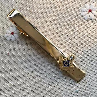 Strass blau gold Freimaurer Krawatte Clip