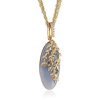 MISIS Women's Silver Natural Necklace 925 White Zircons Sapphire Quartz 50 cm - CA07784BL