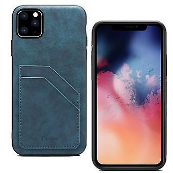 מארז חריץ לכרטיס ארנק עור עבור iPhone xs כחול מרבי on11