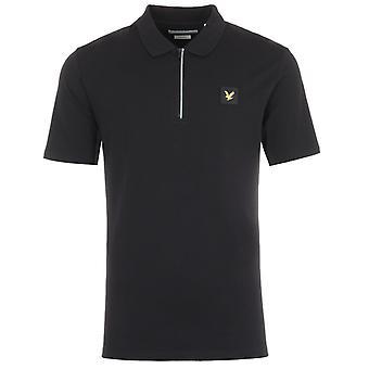 Lyle & Scott Zip Detail Polo Shirt - Black
