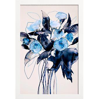 JUNIQE Print - Bloom Series True Blue - Bloemen Poster in Blauw