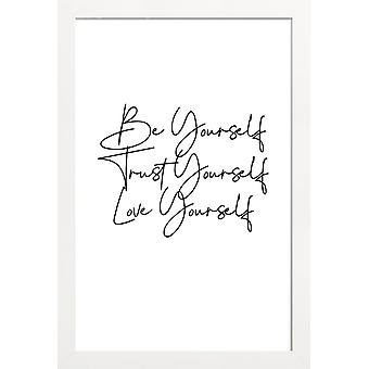 JUNIQE Print - Yourself - Quotes & Slogans Poster in Black & White