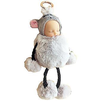 Sleep Doll Hanging Feet Pendant Gift Plush Toy Keychain Key Ring Phone Jushi