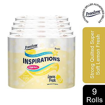 45 Rolls Freedom Inspirations Quilted Lemon 3 Ply Toilet Paper