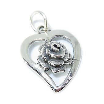 Heart With Rose Sterling Silver Charm .925 X 1 Roses & Hearts Charms - 8423