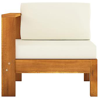 vidaXL middenbank met 1 armleuning crème wit massief houten acacia