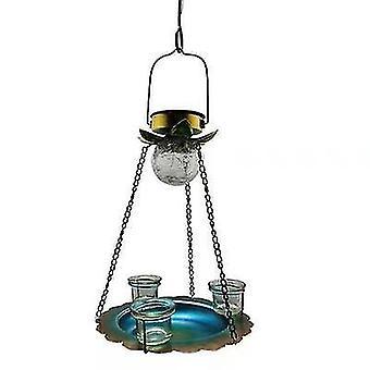 Silver hanging solar led bird feeder for outdoor balcony x817