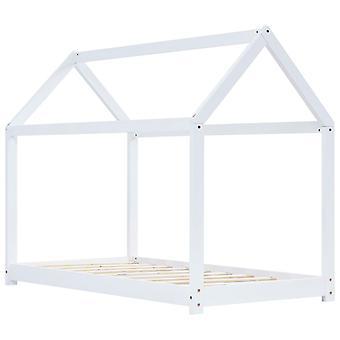 vidaXL lasten sängyn runko Valkoinen massiivipuu mänty 90 x 200 cm