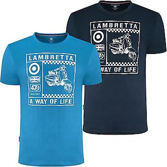 Lambretta Mens Scooter Gráfico Algodón Manga Corta Cuello De Lanco Camiseta Superior Camiseta