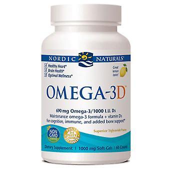 Nordic Naturals Omega-3D, 1000 mg, Lemon, 60 Softgels