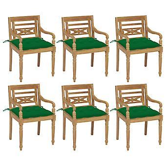 vidaXL Batavia tuolit tyynyt 6 kpl. massiivipuu tiikki