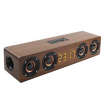 Portable Wooden Soundbar Bluetooth Speaker Subwoofer LED Internet Radio Speakers(Brown)