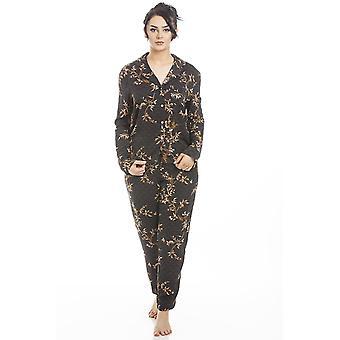 Camille Mujer Manga Larga Floral Satinado Pijama Set Oro