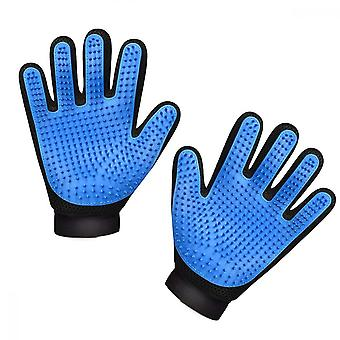 Pet Grooming Glove, Soft Silicone Head Breathable Mesh Cat And Dog Massage Hair Removal Brush Mitten, Blue