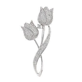 Elegantní dámské brož tulipán corsage bronz micro-nlaid šátek klip šperky brož pin