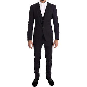 多尔切 » 加巴纳紫色蓝色条纹 3 件苗条西装