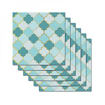 6pcs 3d Mosaic Tile Stickers Self Adhesive Wall Decals Decor Waterproof