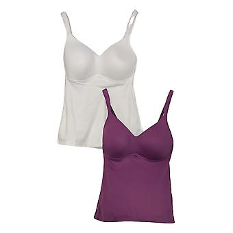 Rhonda Shear Women's Top 2-Pack Everyday Molded Cup Camisole White 656497