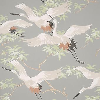 Cranes Grey Wallpaper