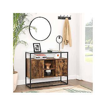 Buffet» Lowell» - 100 x 35 x 80 cm -Brun rustique, noir