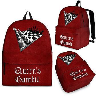 Custom backpack - chess set design #102 queen's gambit, grunge maroon background | 3 optional sizes, unisex backpack, mini backpack