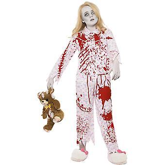Zombiekostüm Schlafanzug Mädchen Rosa mit Oberteil und Hose Gr. L