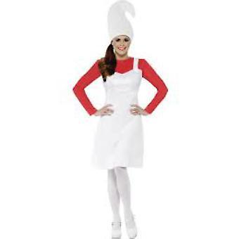 Kostüme Frauen Schlumpfine Kleid Rot mit weißem Kleid und Hut