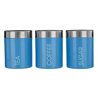 Premier Housewares Liberty Pastel Blue Tea Coffee Sugar Canisters