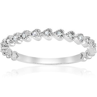 Stackable Diamond Wedding Ring 14k White Gold