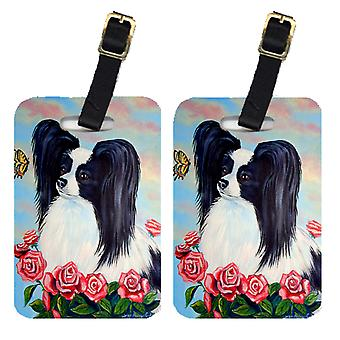 Carolines Treasures  7040BT Pair of 2 Black and White Papillon in Roses Luggage