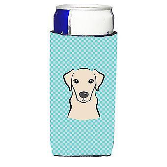 Checkerboard Blue Yellow Labrador Ultra Beverage Insulators for slim cans