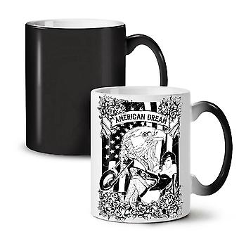 American Eagle Biker USA NEW Black Colour Changing Tea Coffee Ceramic Mug 11 oz | Wellcoda