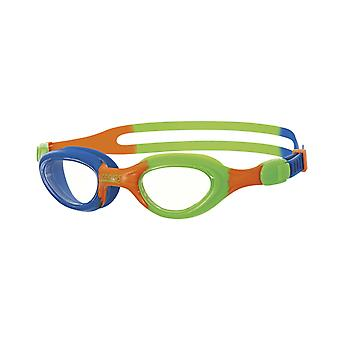 Zoggs Little Super Seal Swim Goggle 0-6yrs- Clear Lens - Blue/Green/Orange